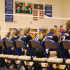 OHS girls' varsity volleyball team engaged in the game.