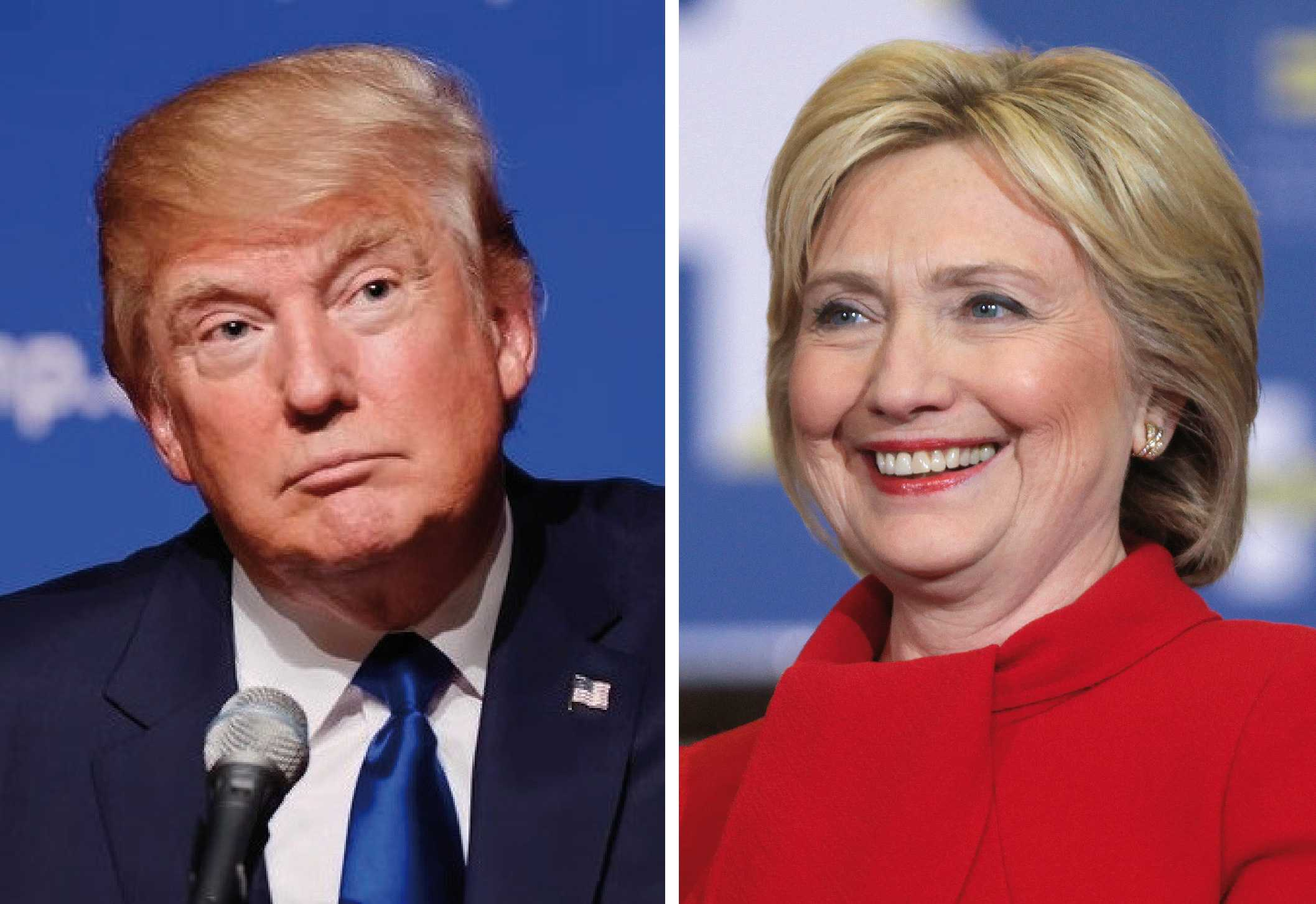 The two leading presidential candidates, Donald Trump (R) and Hillary Clinton (D).