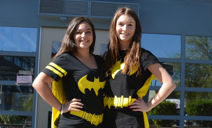Sophomores+Angelica+Aurelius+and+Rebecca+Armentrout+dress+up+in+Batman+shirts+to+represent+the+good+side+of+OHS.