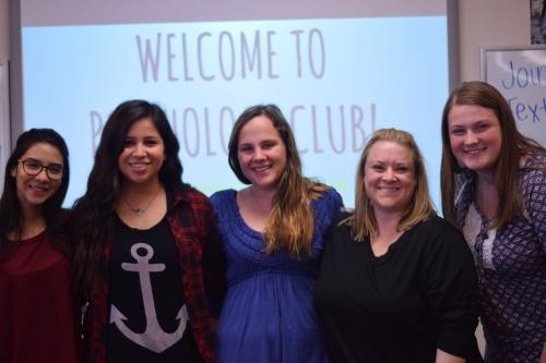 Students Andrea Nunez Serna, Alicia Salas, Klaire Saboe and Ally Jerusal pose with club sponsor  Kyla Morrissey at the club's first meeting in room 705.