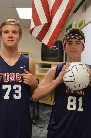 TJ Connaker, junior, and Nick Conger, junior, dress up as basketball players to show their peers what they would like to be when they are older and see how much they have grown in basketball.