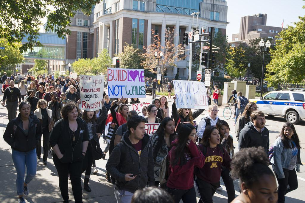 Early Oct. students of Minnesota gather for an Anti-Trump rally.