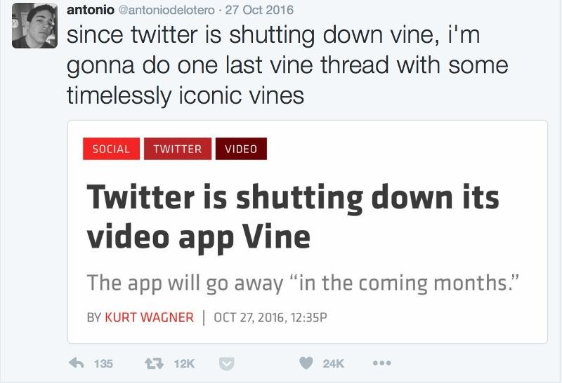 Reactions+on+Twitter+to+the+news+that+Vine+is+shutting+down