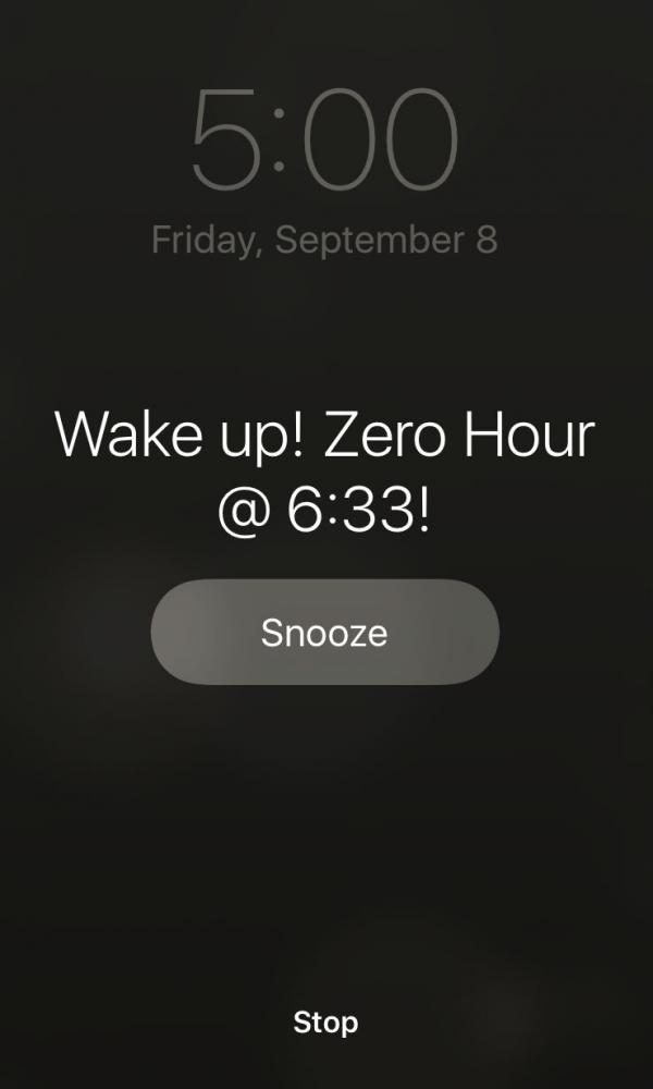 Zero+hour+students+start+an+hour+earlier+and+have+to+arrive+to+school+earlier+than+the+rest+of+the+student+body.
