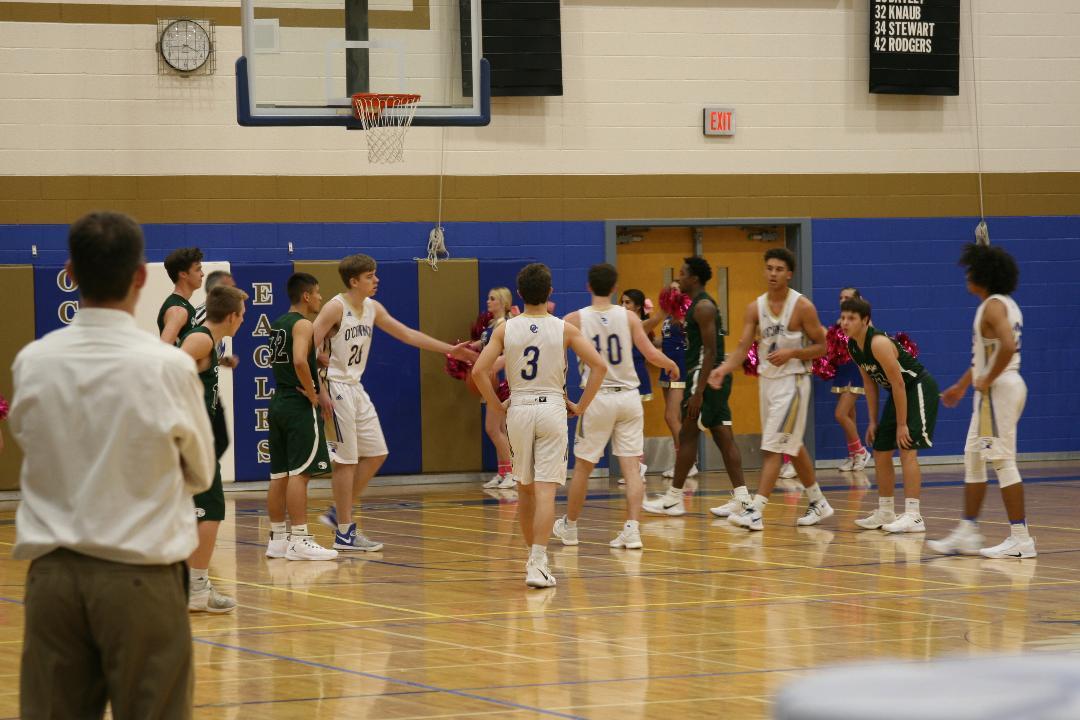 Varsity boys basketball strategies for the win against Desert Ridge on Friday Dec. 8