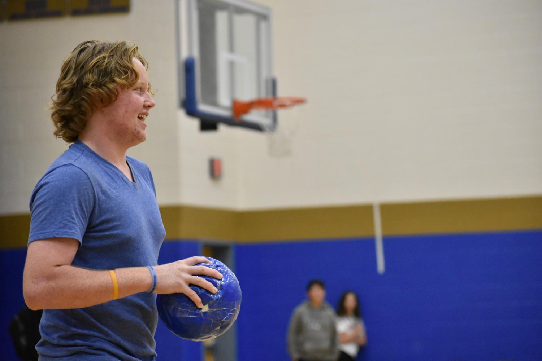 Aidan Sullivan, freshman, plays intramural dodgeball during Eagle Hour.