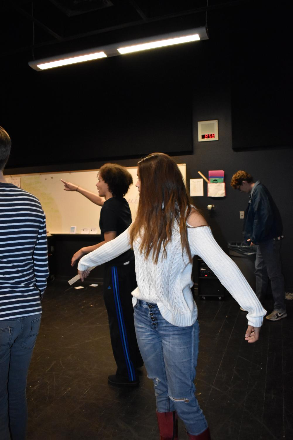 (Left to Right) Seniors One Griffin, Olivia Hsu and Aaron Sims, rehearsing for The Little Mermaid.