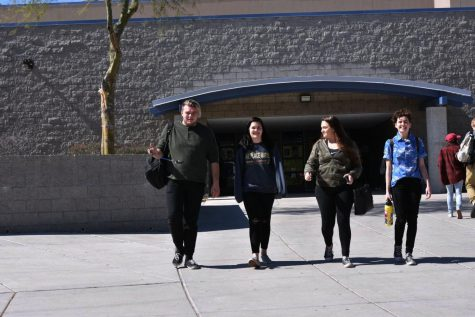 Petie Zufelt, Chloe Scott, Katlyn Snapp, Bethy Reklatis, leave school after their fourth hour class ends.