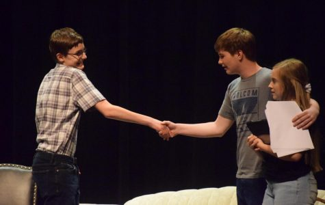 Student playwrights scribe and perform original stories