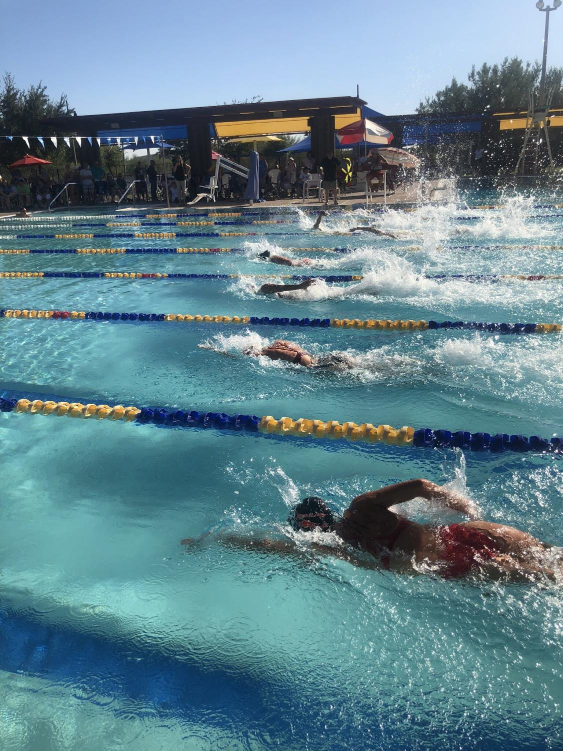 OHS, Boulder Creek and Mountain Ridge gather together at Anthem Community Center for a meet.