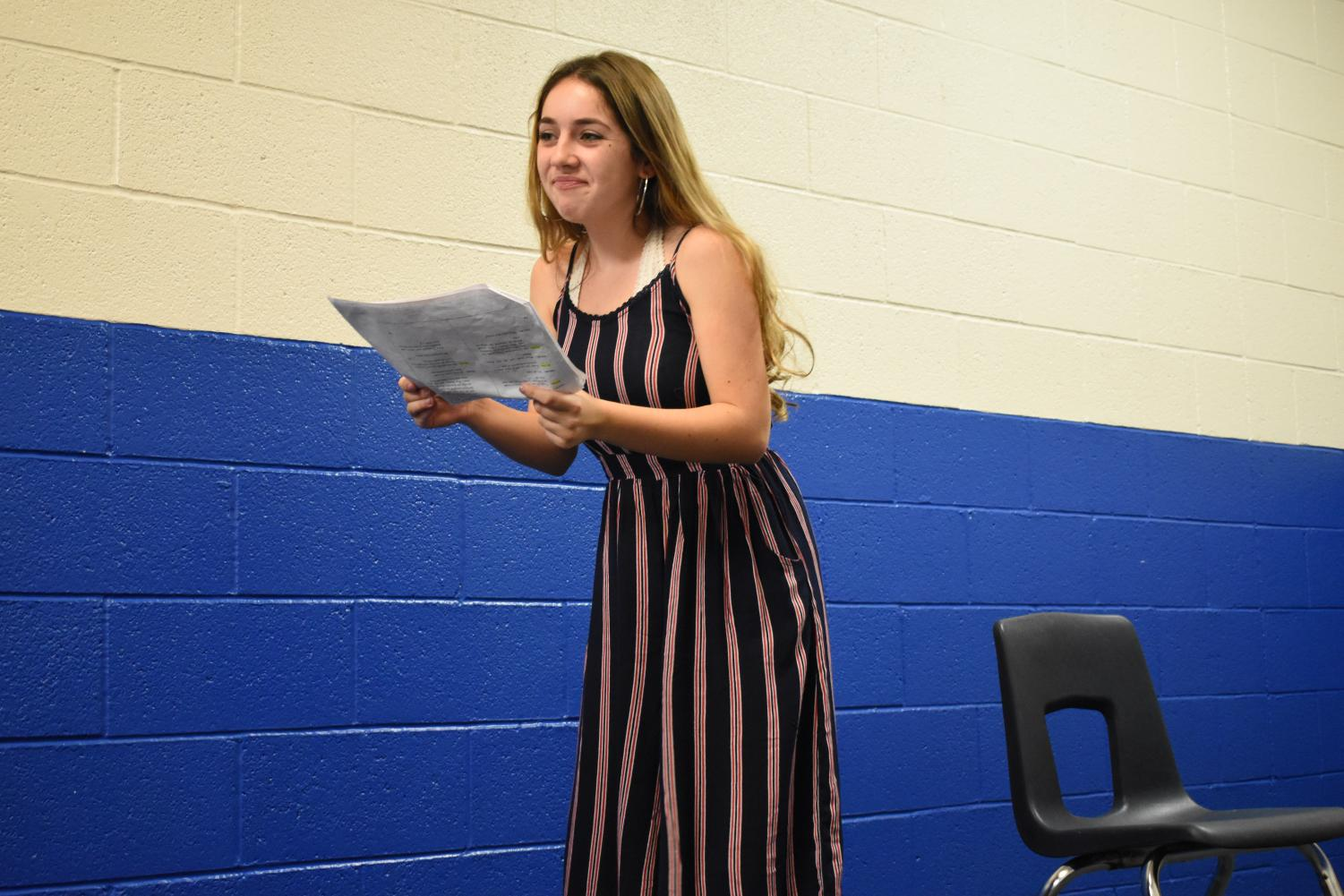 Haiden Ruffino, sophomore, runs her lines of LSH in the Performance Arts building.