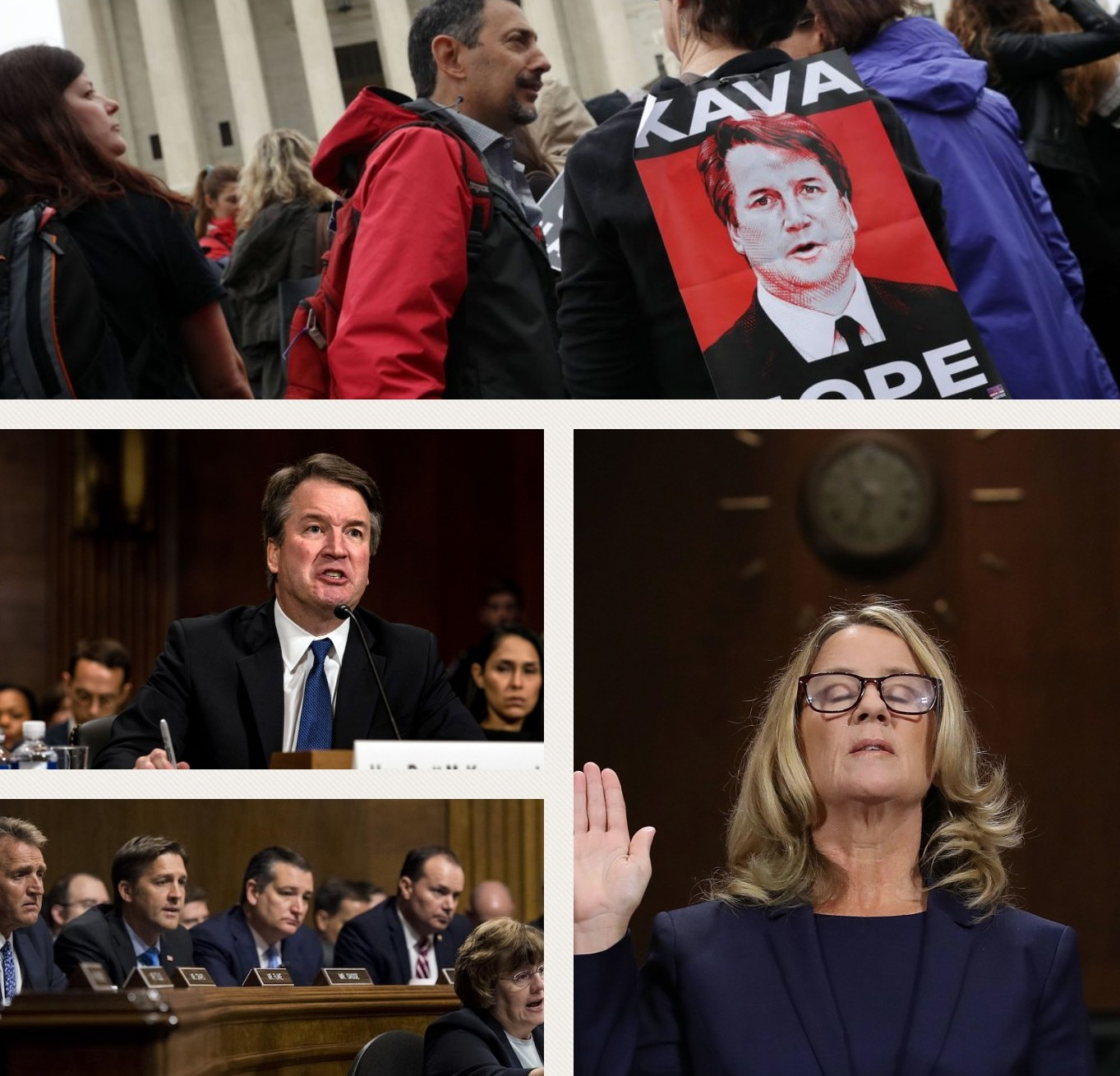 From top to bottom:  Protestors outside the Capitol building voice their disdain; then-Judge Kavanaugh speaks during his hearing; Christine Blasey Ford is sworn in during her hearing; US senators listen during the Senate hearing.