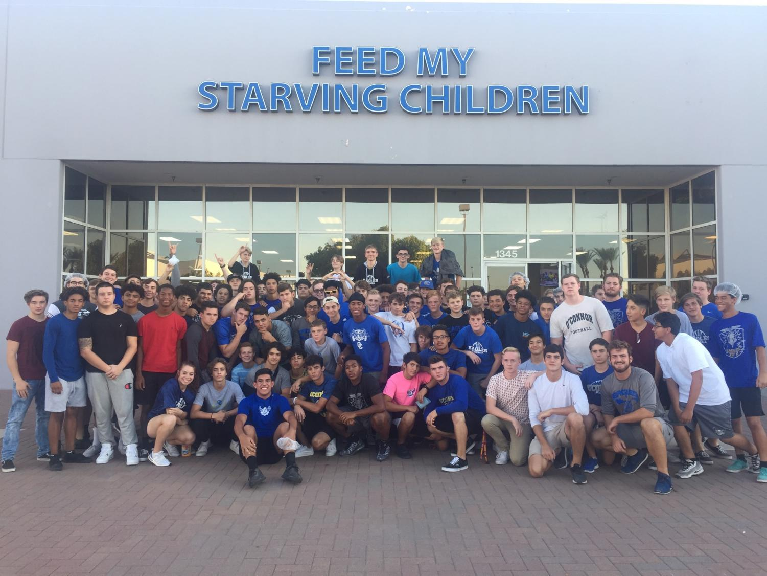 OHS Football and spiritline teams help out those in need through Feed My Starving Children packing programs.