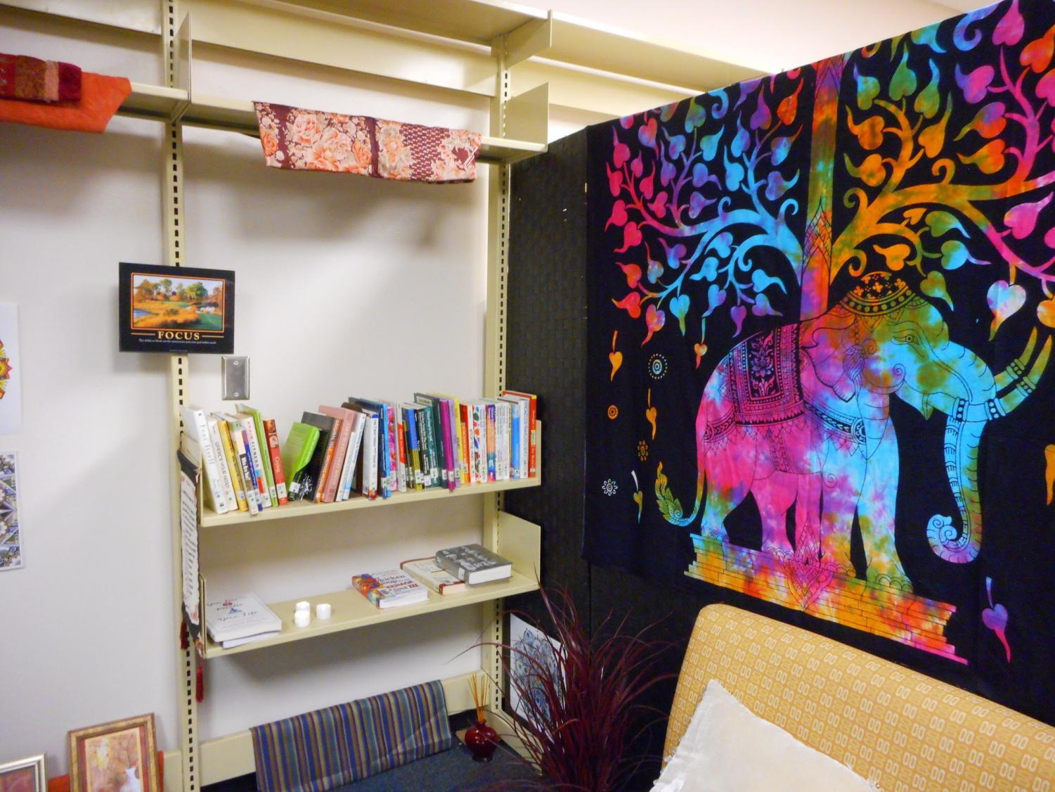The Meditation Room is full of items, like books and small couches, to create a relaxing environment.