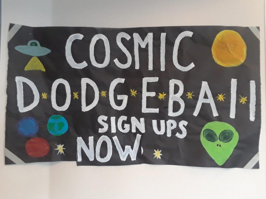 The Cosmic Dodgeball tournament poster has galaxy-themed decorations to catch the eyes of students and faculty.