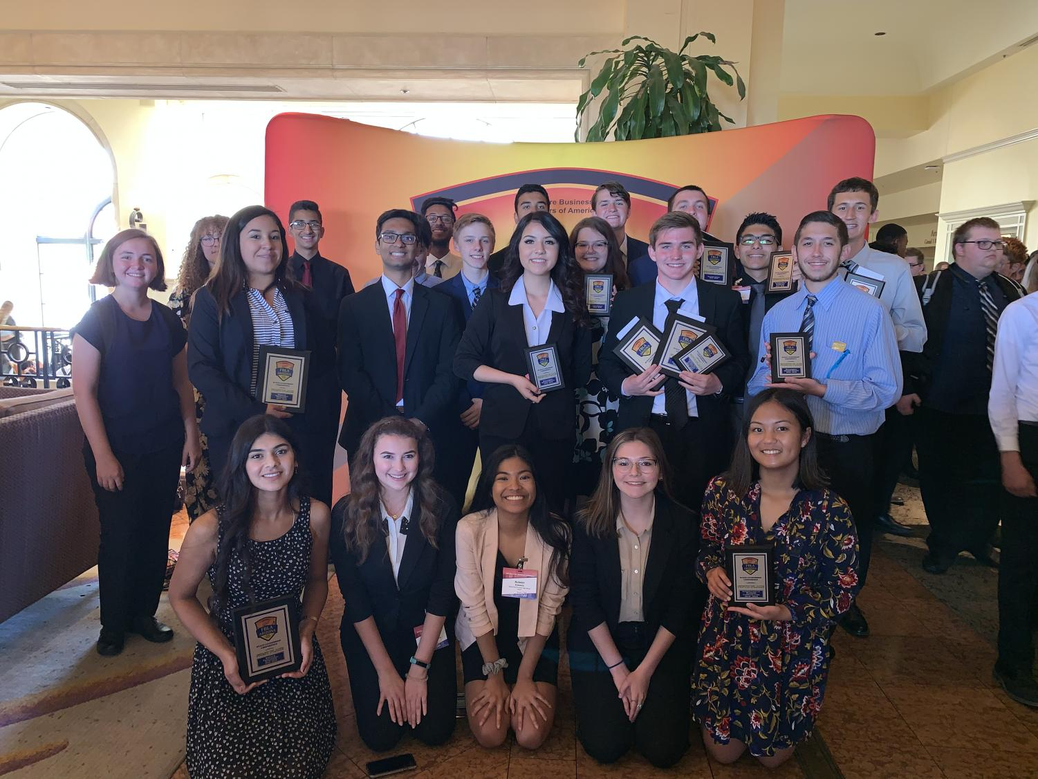 FBLA poses with their hard earned awards from the competition