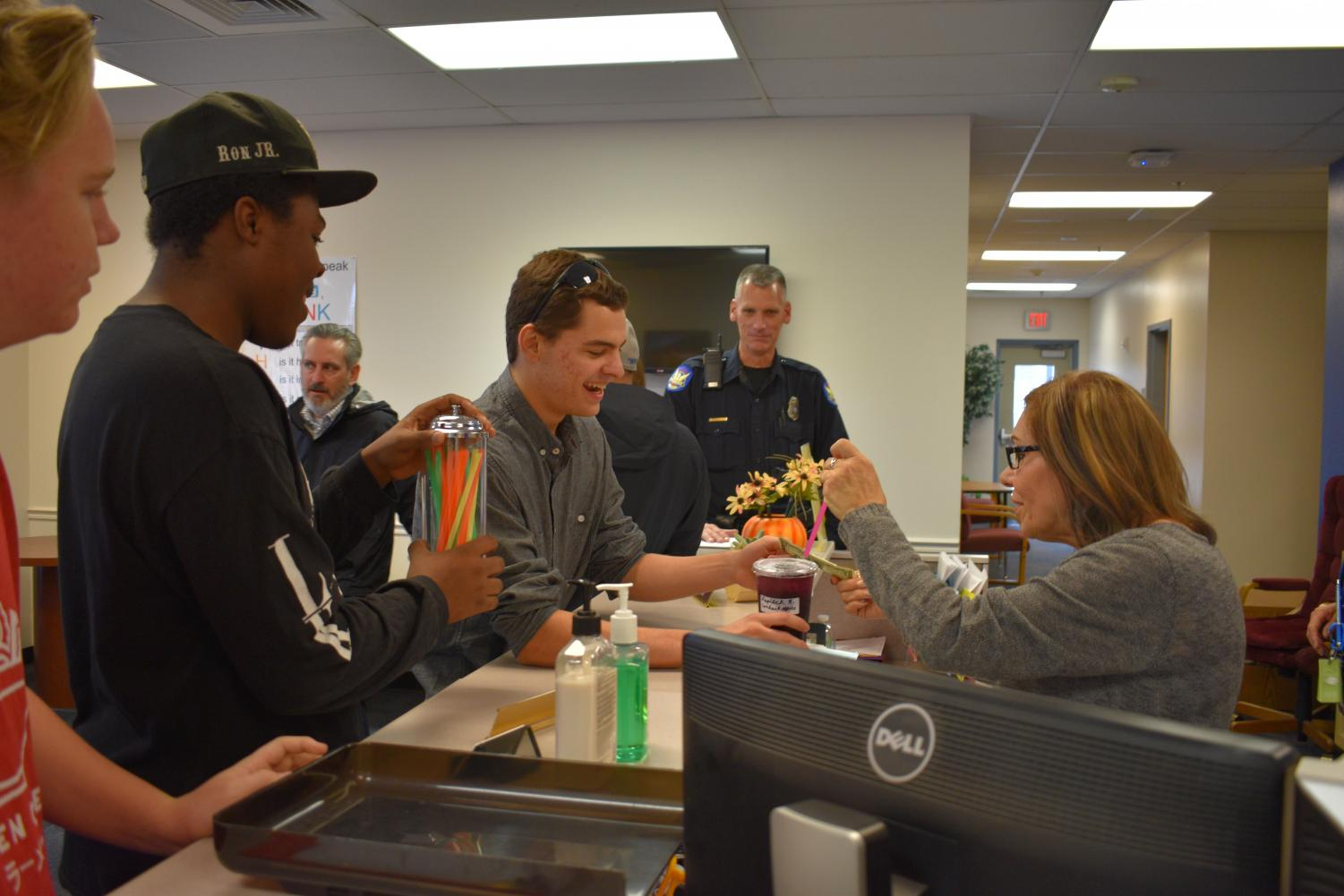 The Eagle Grind delivers refreshing tea to staff in the administration office.