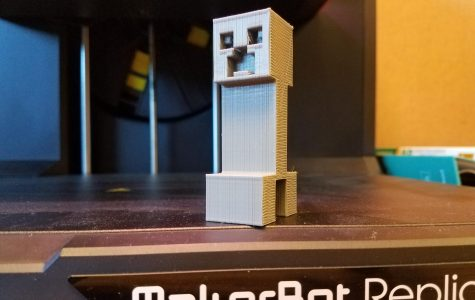 A 3D Printed Creeper made by one of Boucher's students.