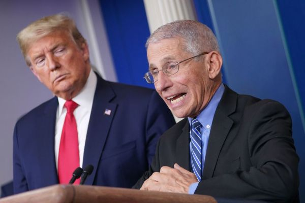 Dr. Anthony Fauci delivers a briefing on COVID-19 with President Donald Trump.