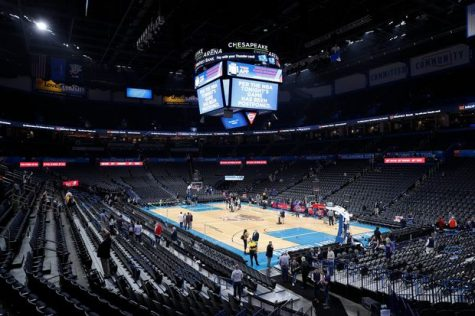 Fans leave the Chesapeake Energy Arena on March 11th after the game between the Oklahoma City Thunder and Utah Jazz was postponed due to coronavirus.
