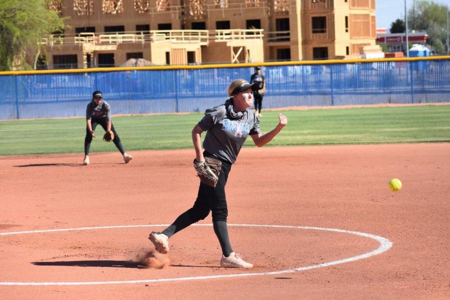 Harper Sullivan, sophomore, pitches in a game against Boulder Creek high school.