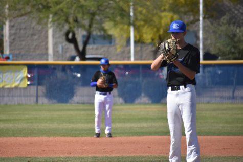 Landon Turnage, sophomore, preparing to throw a pitch.